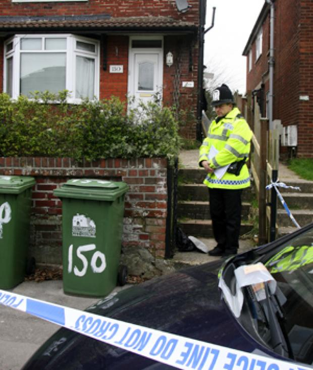 Police outside the house in Southampton where Baljit Kaur Buttar was killed