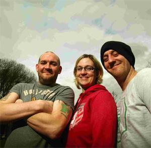 UFO SPOTTER: From left – Deano Price with Ria Harding and Marc Price. Echo picture by Stuart Martin. Order no: 12004053