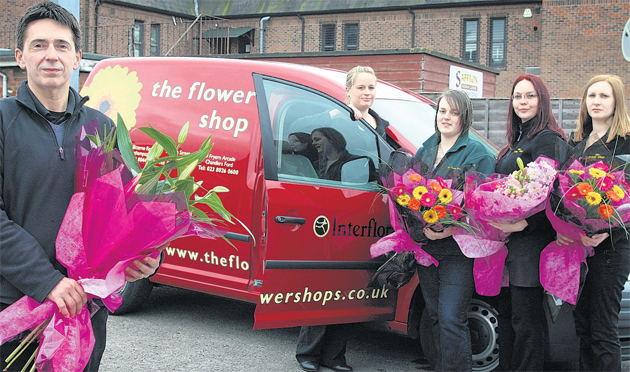 Proprietor of The Flower Shop in Eastleigh High Street Lee Ackerman with one of his vans and employees, left to right, Natasha Barker, Abi Jurd, Shelley Read and Caroline Henley.