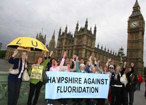 FLASHBACK: Anti-fluoride campaigners take their protest to the Government in London.