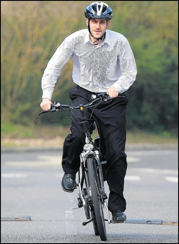 Daily Echo reporter Jon Reeve rides the electric bike