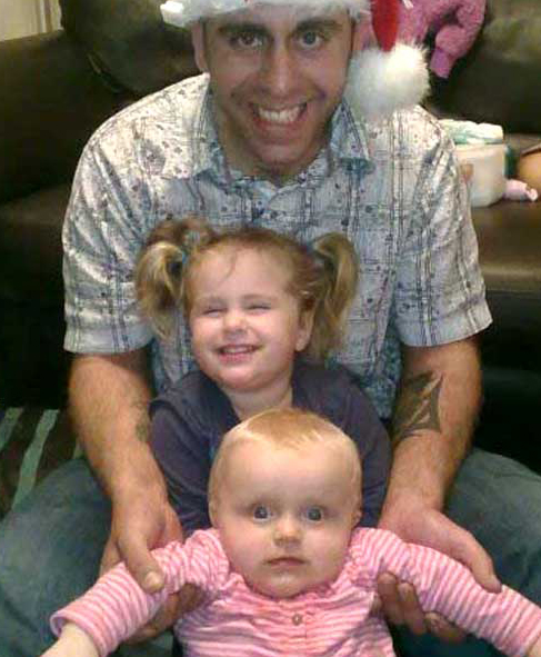 Andrew Case with daughters Phoebe and Nereya.
