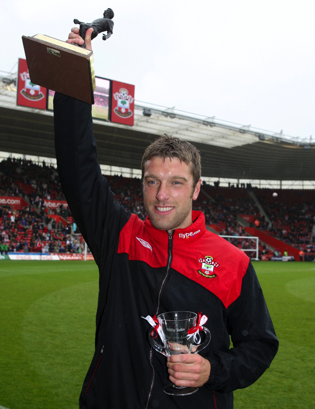 Rickie Lambert with the Daily Echo Player of the Season award for the 2009/10 season
