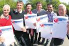 Members of Ex Saints show their support for the Daily Echo Have a Heart Campaign – from left – Hughie Fisher, Matt Le Tissier, Nicky Banger, David Hughes, Francis Benali and Mike Thew.