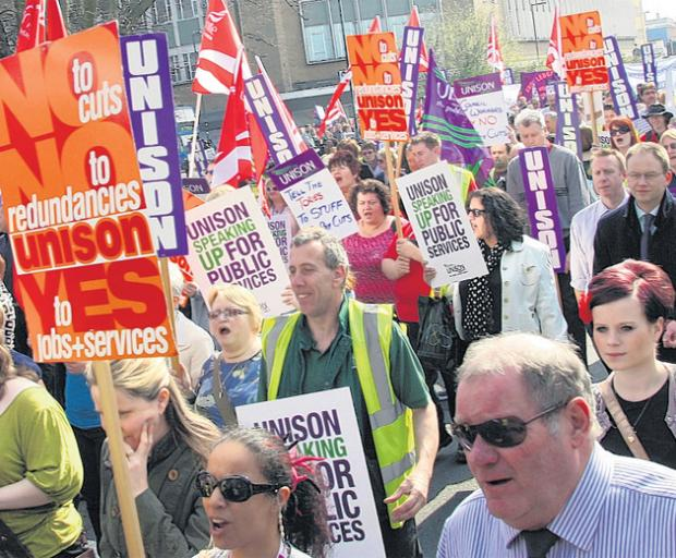 Council workers in a previous march against looming pay cuts
