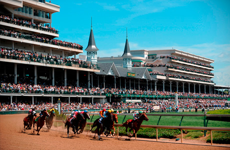 The Field turns round the first bend in the 2011 Kentucky Derby
