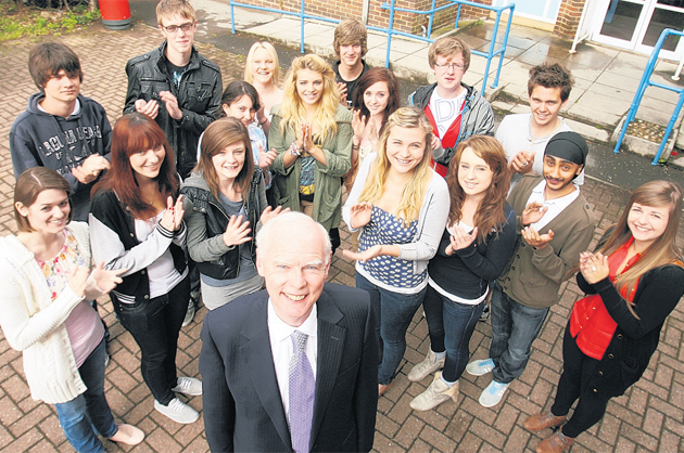 RETIRING: Principal Mark Bramwell is retiring after 17 years and is given a send-off by students at Totton College.