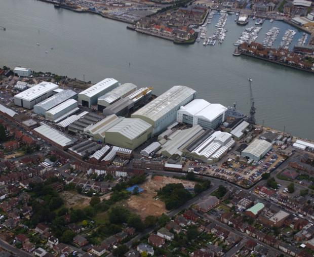 The former Vosper Thornycroft shipyard in Southampton