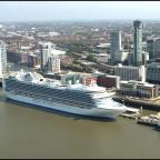 A cruise ship berths in Liverpool