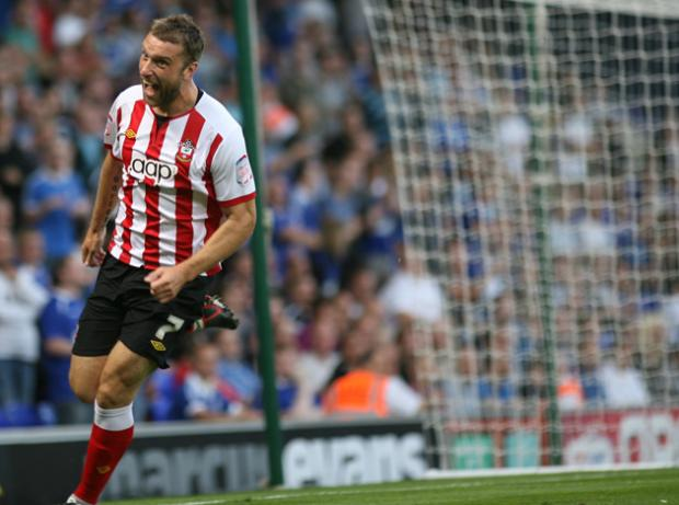Rickie Lambert celebrates scoring against Ipswich Town