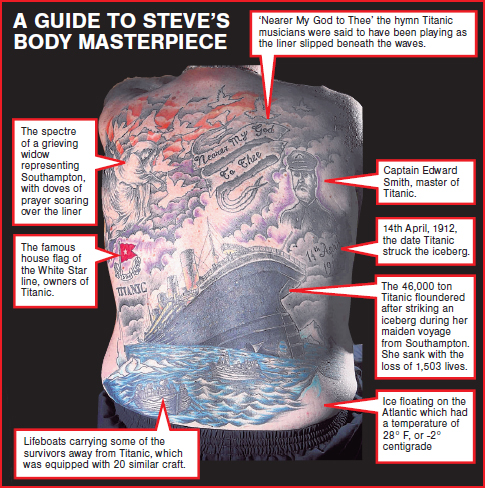 Steve Hide's Titanic tattoo