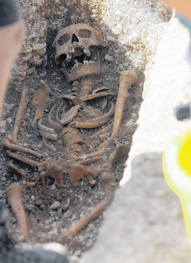 Some of the human remains uncovered during the dig at St Mary Magdalen Hospital