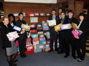 Daily Echo: Students at Sherfield School with some of the shoeboxes they have collected