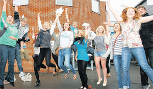 Totton students celebrate their A Level results in 2011