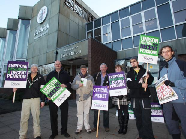 Daily Echo: Council workers on strike at Eastleigh Borough Council