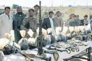 The drugs and arms seized by the Hampshire Tigers in Helmand Province