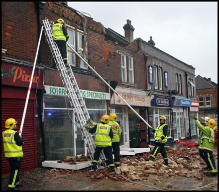 Gale force winds cause part of building to collapse