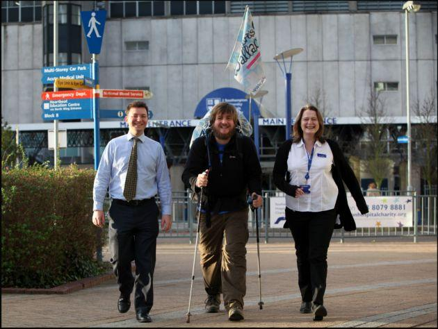 Matt Wallace, centre, with lead research nurse Anne Croudass and senior lecturer in breast surgery Ramsey Cutress.