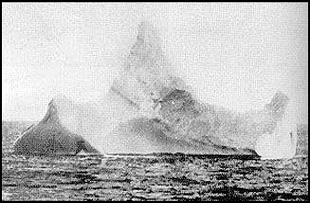 Daily Echo: The photograph of an iceberg suspected to have sunk Titanic. Taken by a steward on board Prinze Adelbert.
