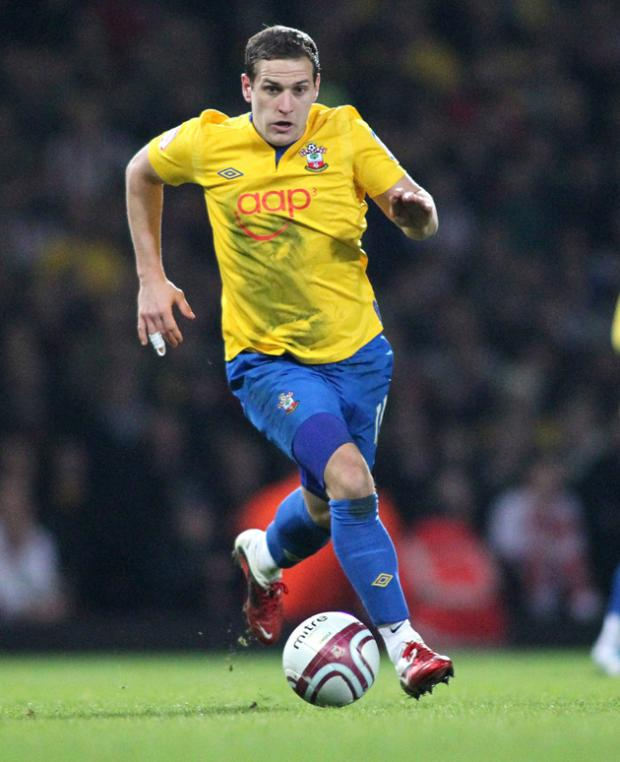 Billy Sharp in action for Saints against West Ham