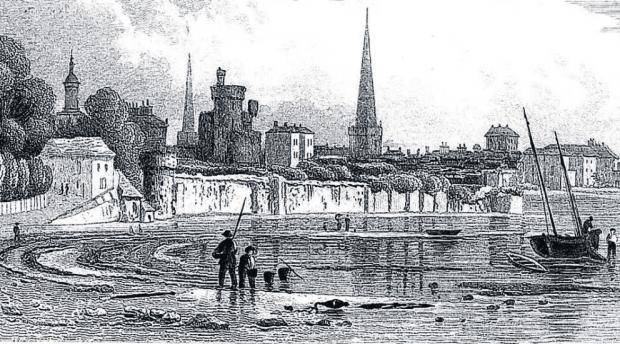 A sketch of what is now the town walls at Western Esplanade in Southampton