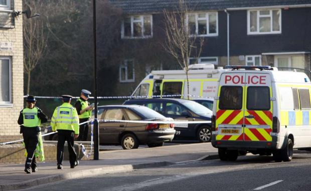 Daily Echo: Police at the scene in Vanguard Road