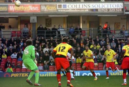 Images from the npower Championship match between Watford and Saints at Vicarage Road. The unauthorised downloading, editing, sale or distribution of this image is strictly prohibited.