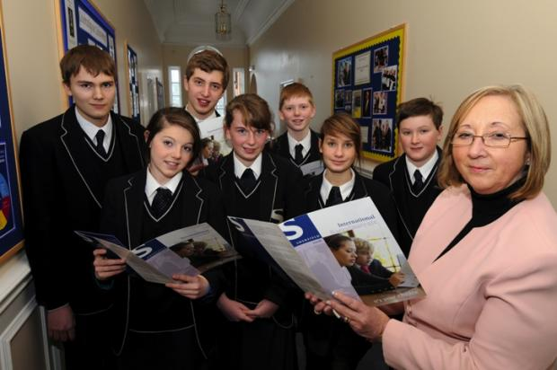 Professor Pay Preedy with Sherfield School pupils. She will be taking up a new role in September