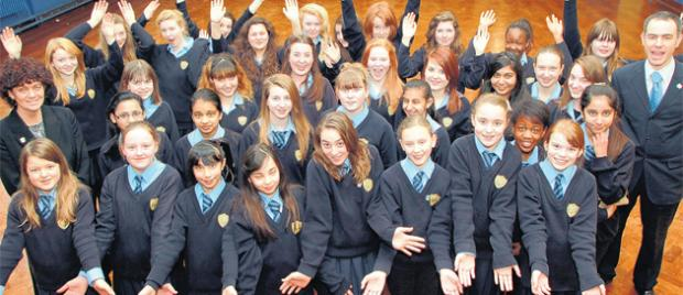 St Anne's Catholic School pupils with head teacher Beverley Murtagh and deputy head James Rouse