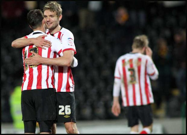 Jos Hooiveld is congratulated after scoring on Tuesday