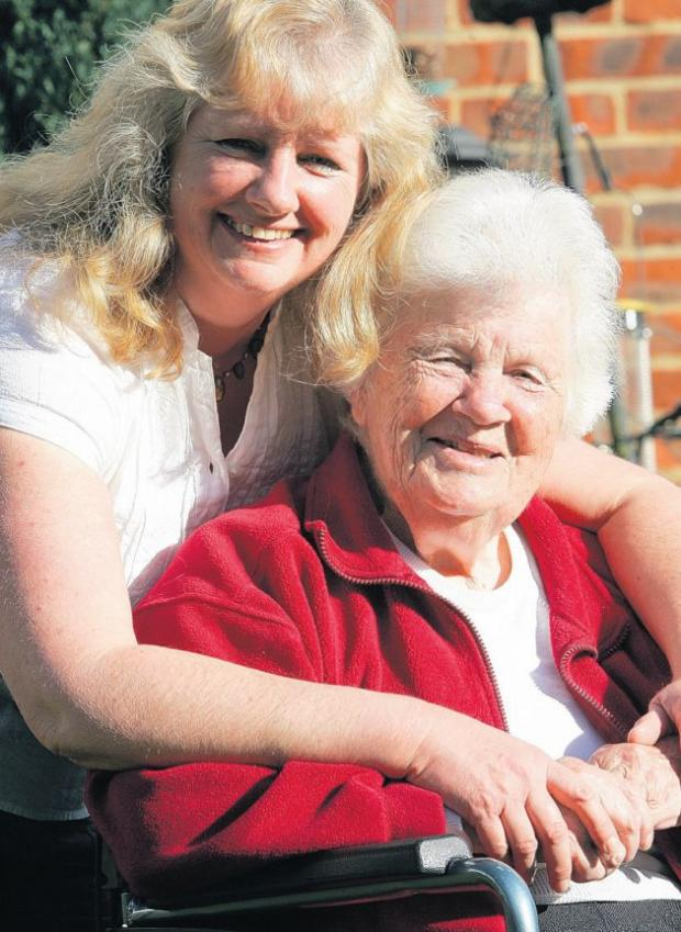 Carer Jane Ward and her mum Ella Fuller.