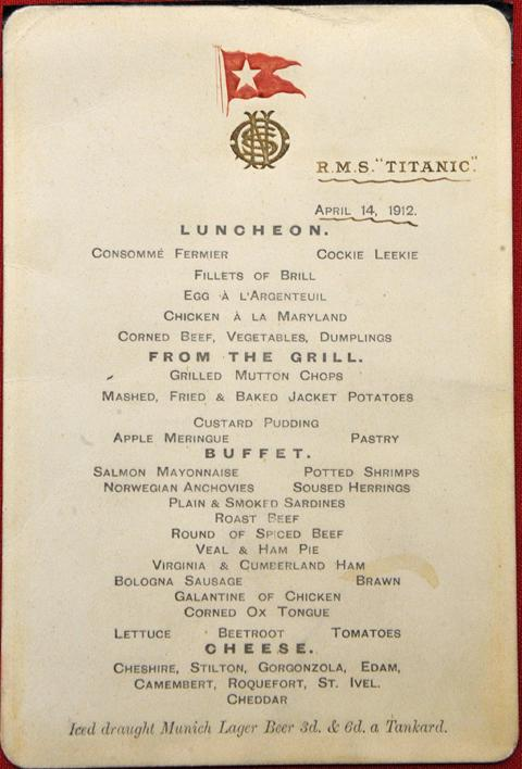 Daily Echo: The menu from the Titanic which sold for £76,000