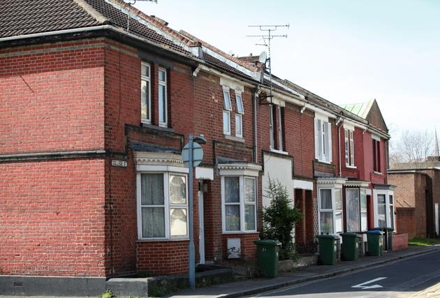 The few remaining terraced homes in College Street, Southampton