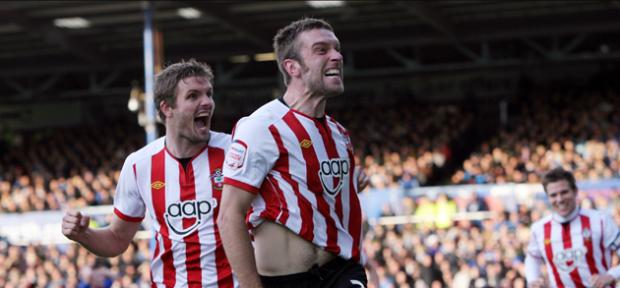 Daily Echo: Rickie Lambert celebrates scoring against Portsmouth