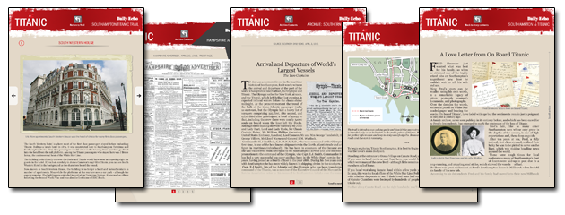 Daily Echo: Screen shots of just some of the content on the Titanic - The Southampton Story iPad app.