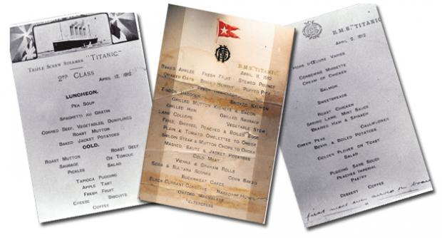 Menus from Titanic