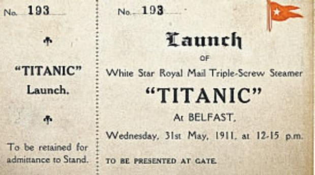 The Titanic launch ticket that sold for more than £35,000.
