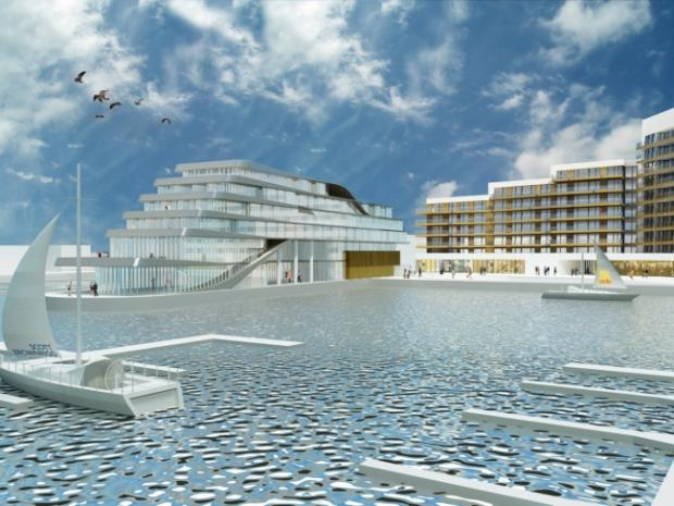 A computer generated image of the Ocean Village hotel plans