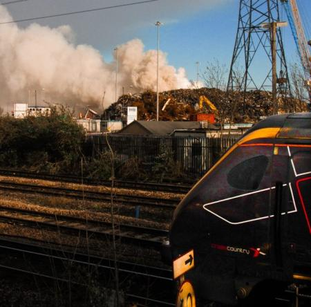 Readers' photos from the fire at Southampton Docks. Photograph by Katie Thompson.