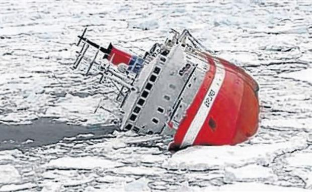 The MS Explorer got into trouble after hitting an iceberg