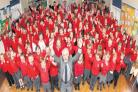 King's Somborne Primary School head teacher Nick Winning with pupils and staff.