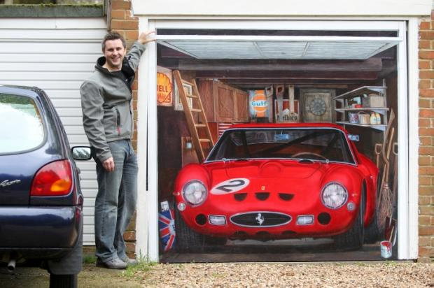 SM-ART CAR: Chris Smart and the Ferrari mural on his garage door.