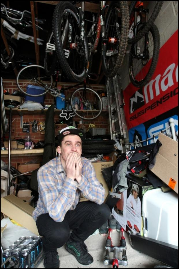 DEVASTATED: Grant Fielder in his garage where the thieves struck