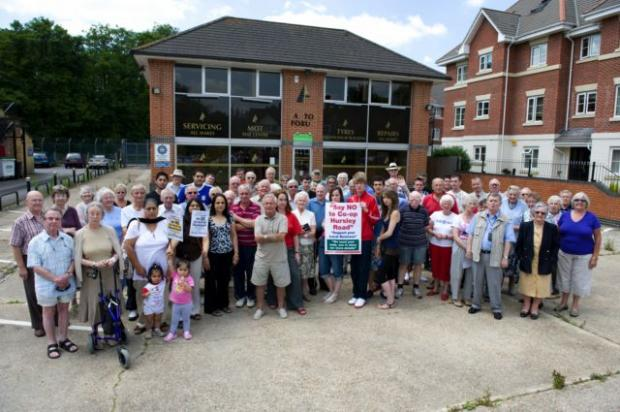 Residents pictured in 2010 staging a protest over the Co-op plans.