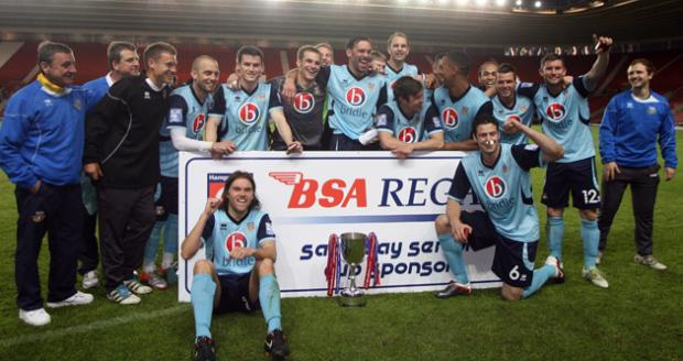 Eastleigh FC celebrate winning the 2012 Hampshire Senior Cup Final