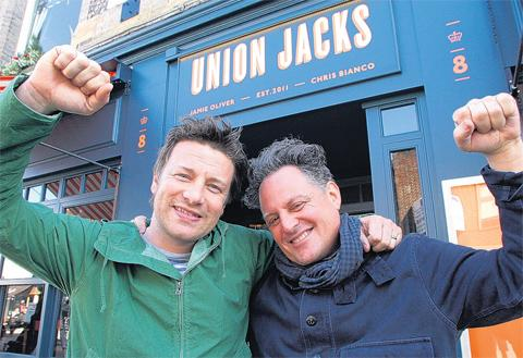 Jamie Oliver, left, with Chris Bianco