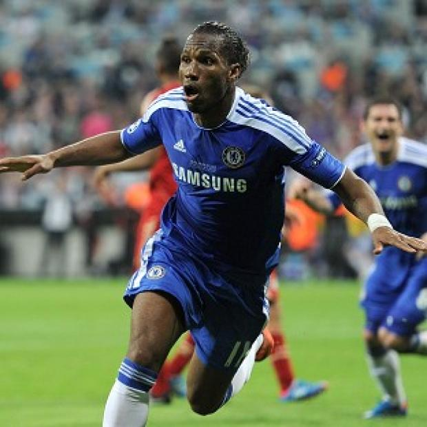 Didier Drogba celebrates scoring the penalty which won Chelsea the European Cup