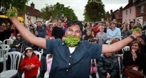 Daily Echo: Rajesh Peter retained his watercress-eating crown.