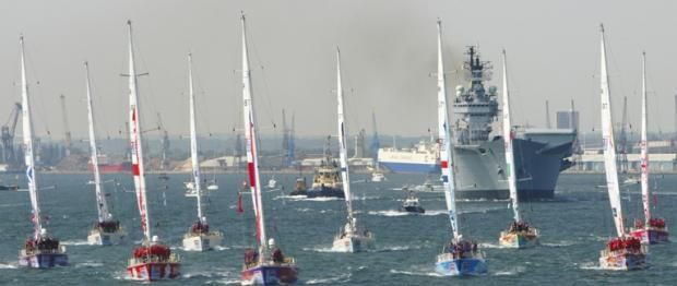 The Clipper yachts leaving Southampton