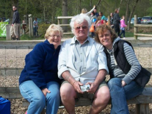 Janice Gale with her mum and dad Alan, who has fought cancer.
